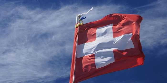 Switzerland's flag flapping in the wind