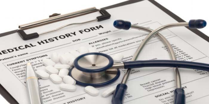 A medical history form.